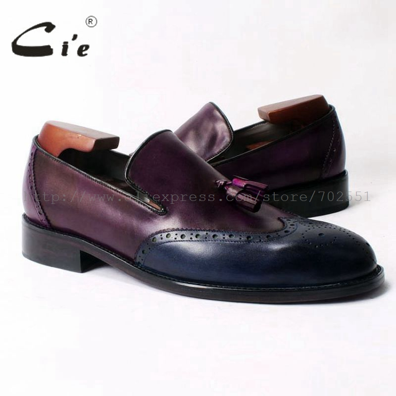 cie Free Shipping Round Toe Adhesive Craft  Handmade Tassel slip on Casual Calfskin Blue/Purple Leather Men's  shoe No.Loafer 53 cie free shipping round toe adhesive craft handmade tassel slip on casual calfskin blue purple leather men s shoe no loafer 53