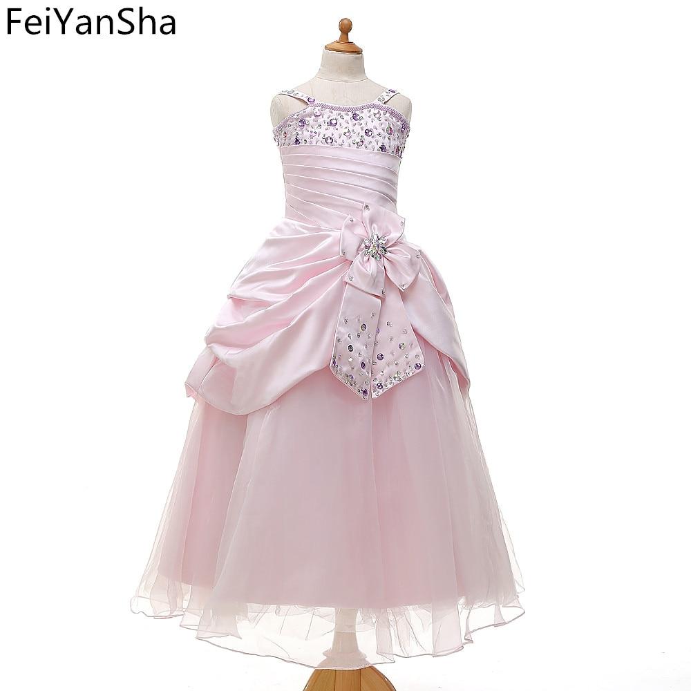 FeiYanSha Flower Girl Dresses Hole Ball Gown White Lace Sleeveless O Neck Long Wedding Pageant First Communion Dresses for Littl