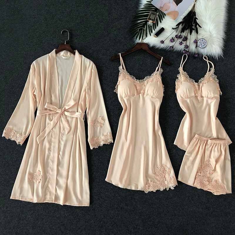 ZOOLIM 4 PCS Lace Sexy Lingerie Satin Sleepwear   Pajamas     Set   Nightwear Negligee Pyjama with Shorts with Chest Pads