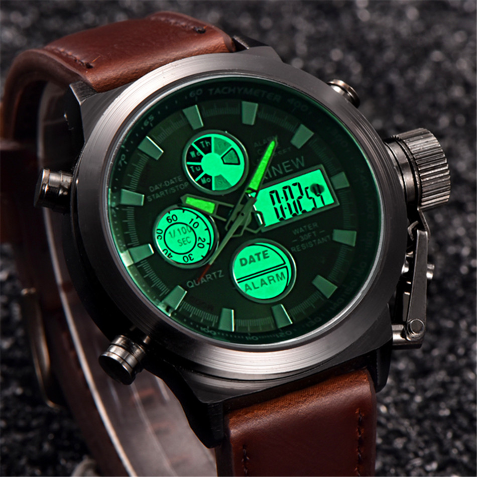 2016 chronograph Watches men luxury brand Sports LED digital Military watches Fashion casual Army quartz watch relogio masculino capa gucci iphone x