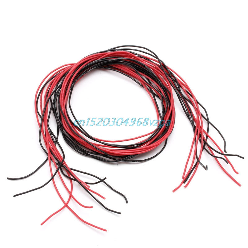 Wire Wiring Cables Flexible Stranded Copper Cables 1M red 1M Black Silicone 10 12 14 16