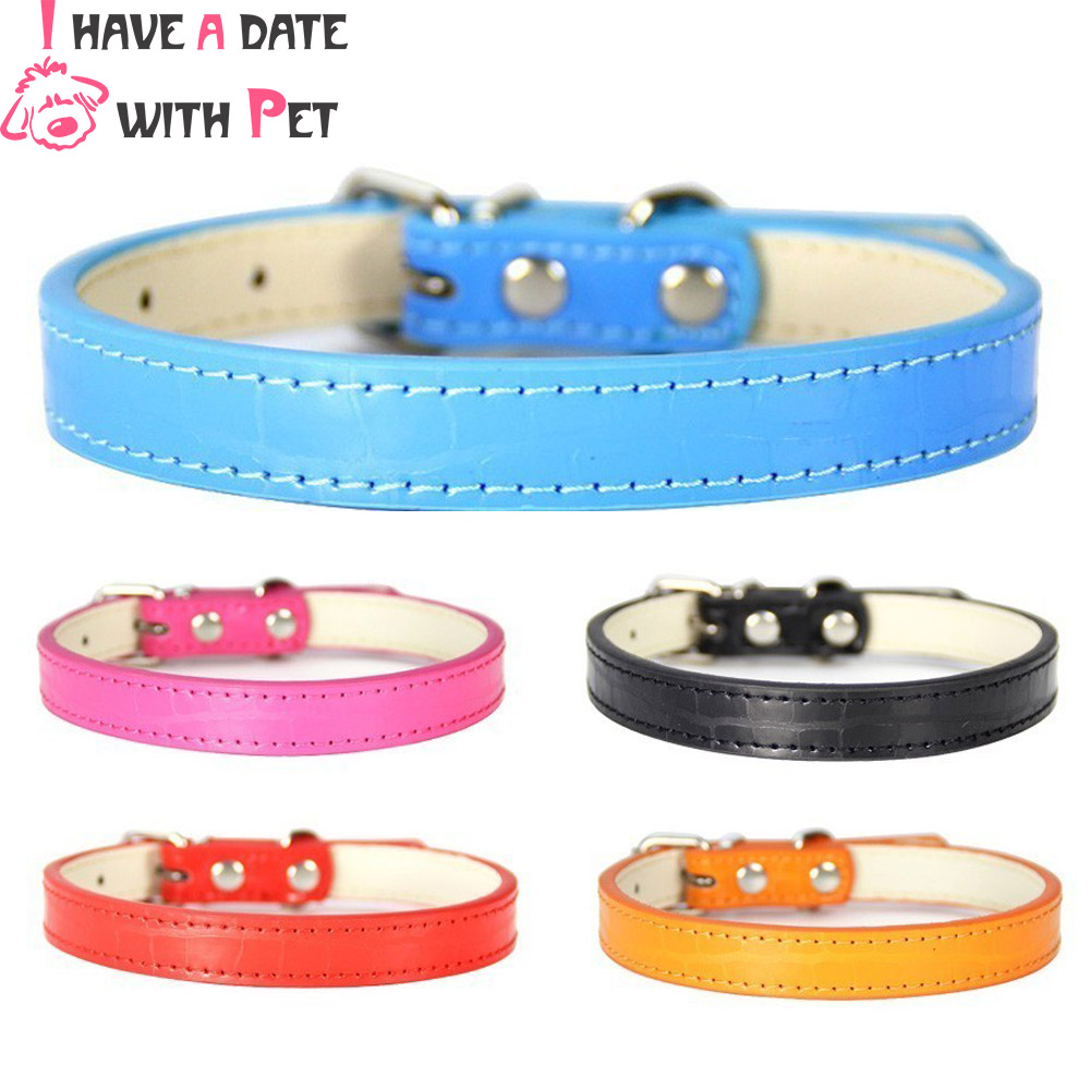 Personalized Crocodile Texture Dog Collar Leather Adjustable Dog Strap for Small Medium XS S M L Puppy Accessories Pet Supplies in Collars from Home Garden