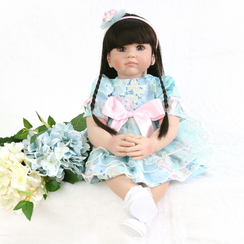 Adorable Silicone Reborn Baby Girl Dolls that Looks Real Toddler Princess Girl with Black Hair Dolls Toys for Girls Birthday Toy adorable soft cloth body silicone reborn toddler princess girl baby alive doll toys with strap denim skirts pink headband dolls
