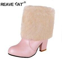9102da0b REAVE gato Botas mujer tacones altos mujer tobillo Botas Zapatos de mujer  piel sintética negro blanco rosa talla grande 33-43 Ve.