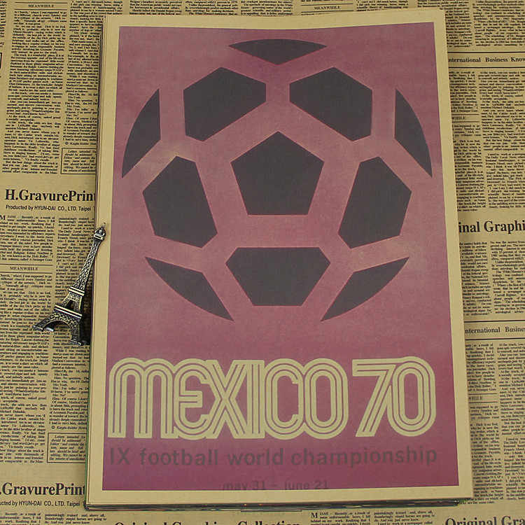 "Large Vintage ""1970 Mexico World Cup"" Football Poster Home Decoration Detailed Antique Poster Wall Chart Retro Matte Kraft Paper"