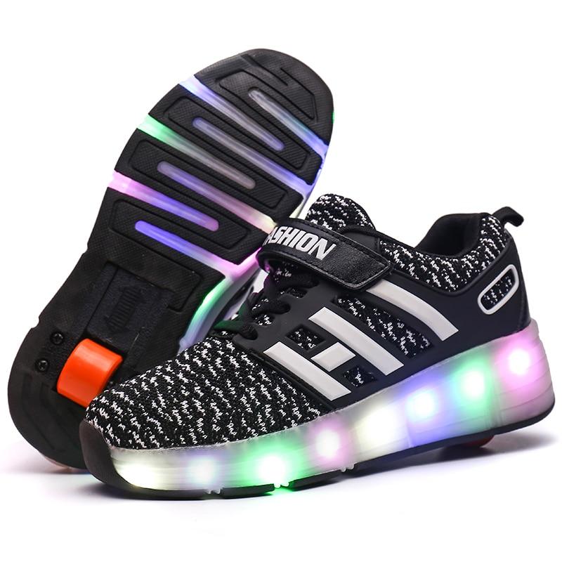 Heelys  Child Jazzy Junior Girls&Boys LED Light Children Roller Skate Shoes Kids Sneakers With Wheels BLACK Sneaker