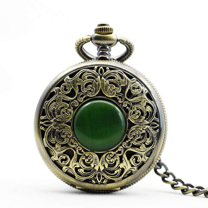 Vintage Hand-winding Blue Elegant Jade Inlays Mechanical Pocket Watch With Pendant Necklace old antique bronze doctor who theme quartz pendant pocket watch with chain necklace free shipping