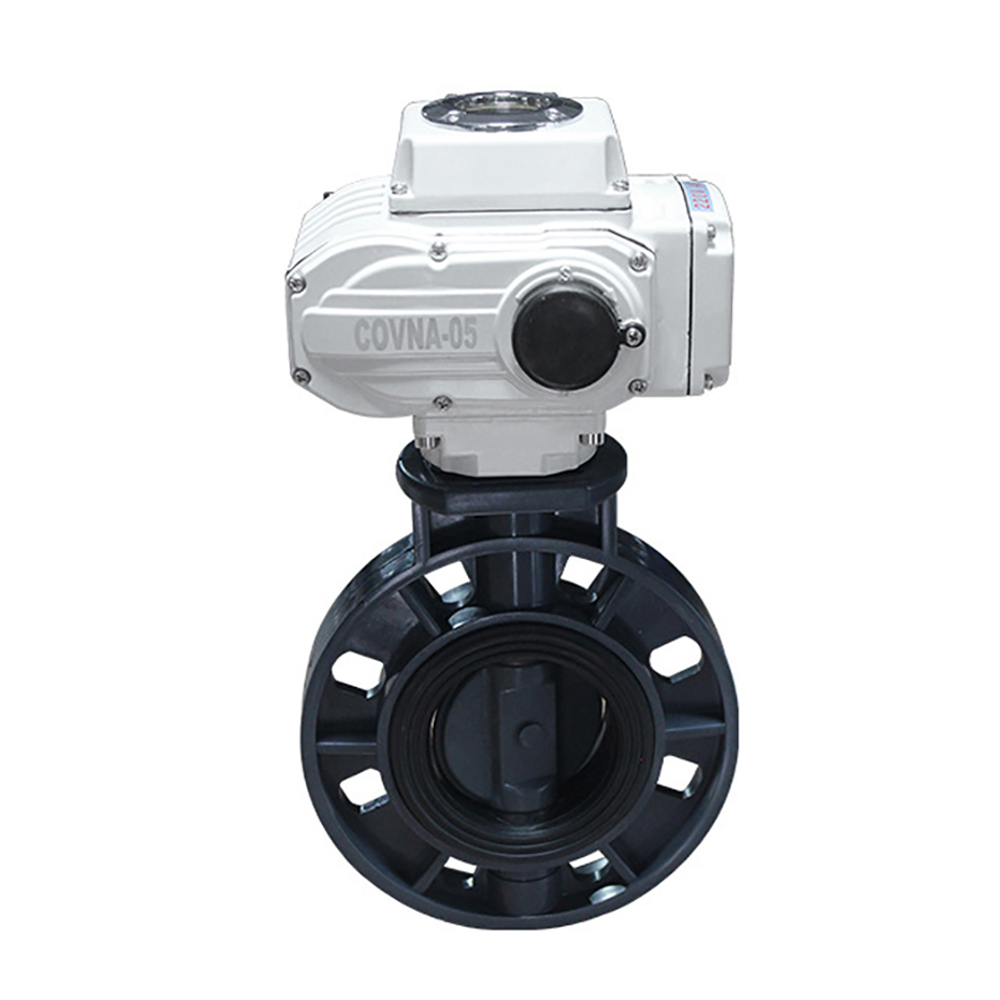 DN65 2 5 inch UPVC Electric Butterfly Valve Plastic Motorized Valve On Off Type