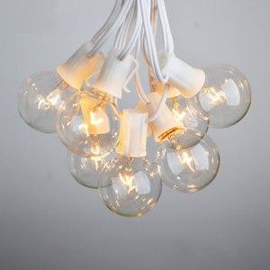 Image 2 - مصباح أوتار حفل الزفاف الأبيض VNL ، مصباح إكليل ديكور للحدائق بتصميم كلاسيكي مع 25 مصباح كرة شفاف للفناء والمظلات المعلقة في الهواء الطلق