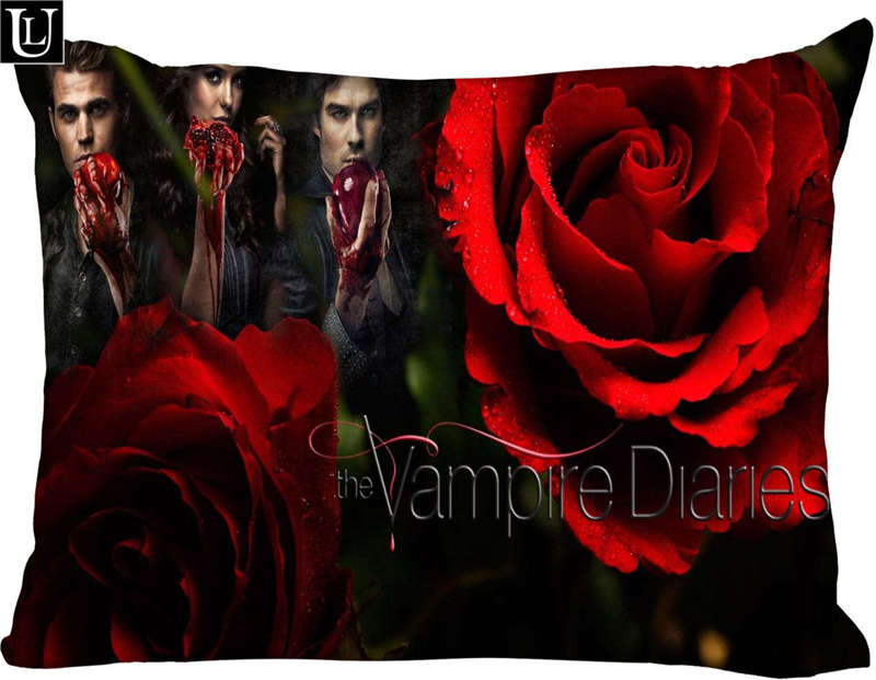 Custom thevampirediaries Rectangle Pillow Cover Size45x35cm (one side) Print Custom Zipper Polyester Cotton Pillowcase more size