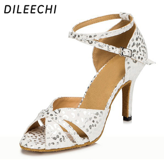 DILEECHI White and Red blue adult women Latin dance shoes Ballroom dance  shoes Salsa party Square dance shoes High-heeled 8.5cm 141d553f2f0b
