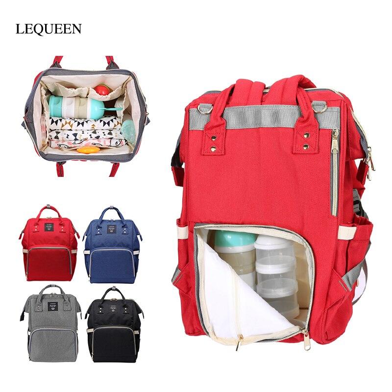 Solid Color Mummy Diaper Bag Large Capacity Mother Backpack Bag Waterproof Maternity Nappy Bags Zipper Women Handbag Baby Care
