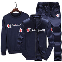 3 Pieces Sets (Jacket+Pant+hoodies) Tracksuit Men Sporting Brand Clothing Casual Track Suit Men chandal hombre Slim Tracksuit