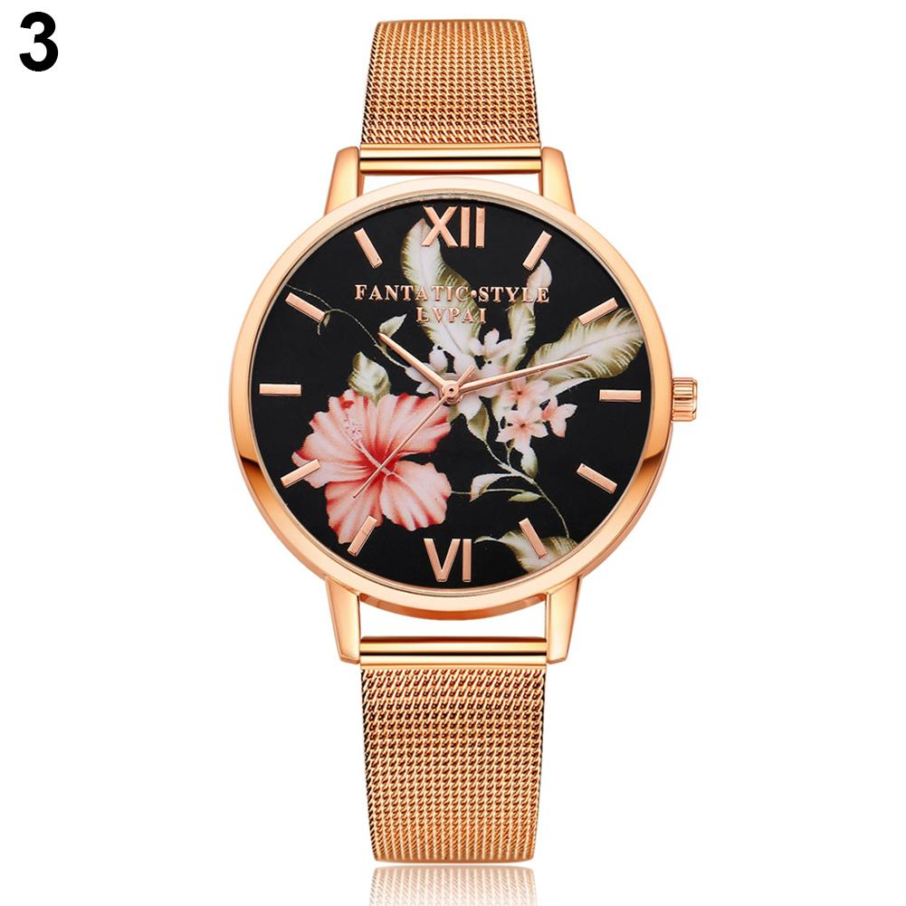 Women Watches Fashion Flower Print Crystal Women Bracelet Quartz Wrist Watch Alloy Wristwatch relogio feminino Dropshipping
