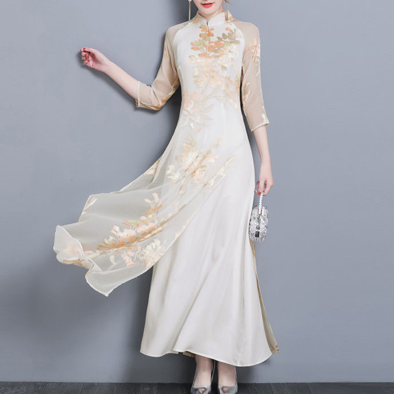 Chinese style summer dress Retro elegant Women dress Slim 3/4 Sleeve Floral Print Qipao Cheongsam floral long Dress