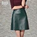 Cuero genuino verde oscuro etek faldas mujeres A-Line mini falda faldas jupe saia sexy delgada falda de piel de oveja Envío Libre LT306