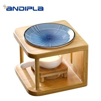 Creative Incense Burner Ceramic Plate with Bamboo Shelf Essential Oil Fragrance Powder Censer Aromatic Stove Night Light Decor