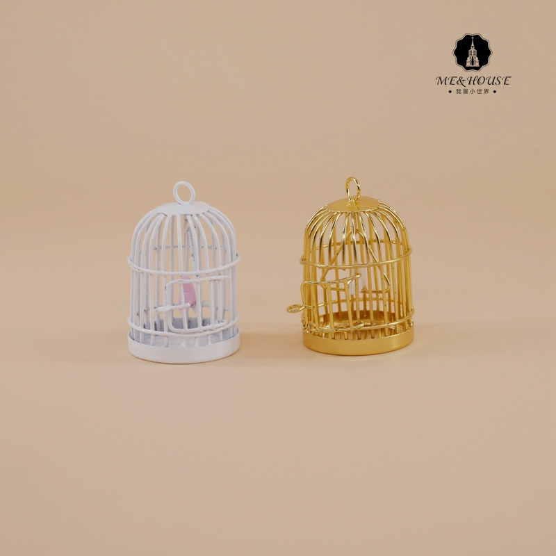 1:12 Doll House Miniature Metal Bird Cage with White Bird garden ornament rat catcher spring cage new 1 pieces trap outdoor humane live indoor animal rodent pest control mice cage garden home house