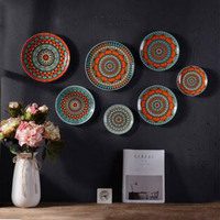 7pcs per handpaint ceramic plate home wall decor creative gifts interior wall mounted plates 10inch/8inch/6inch