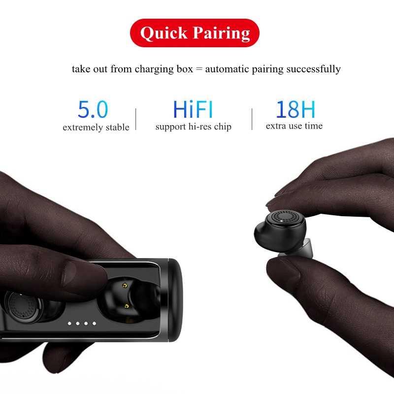 54f5c60dd70 ... TWS 5.0 True Wireless Earbuds Mini Stereo Bluetooth Earphone Twins  Waterproof Sport Earphones with Charging Case ...
