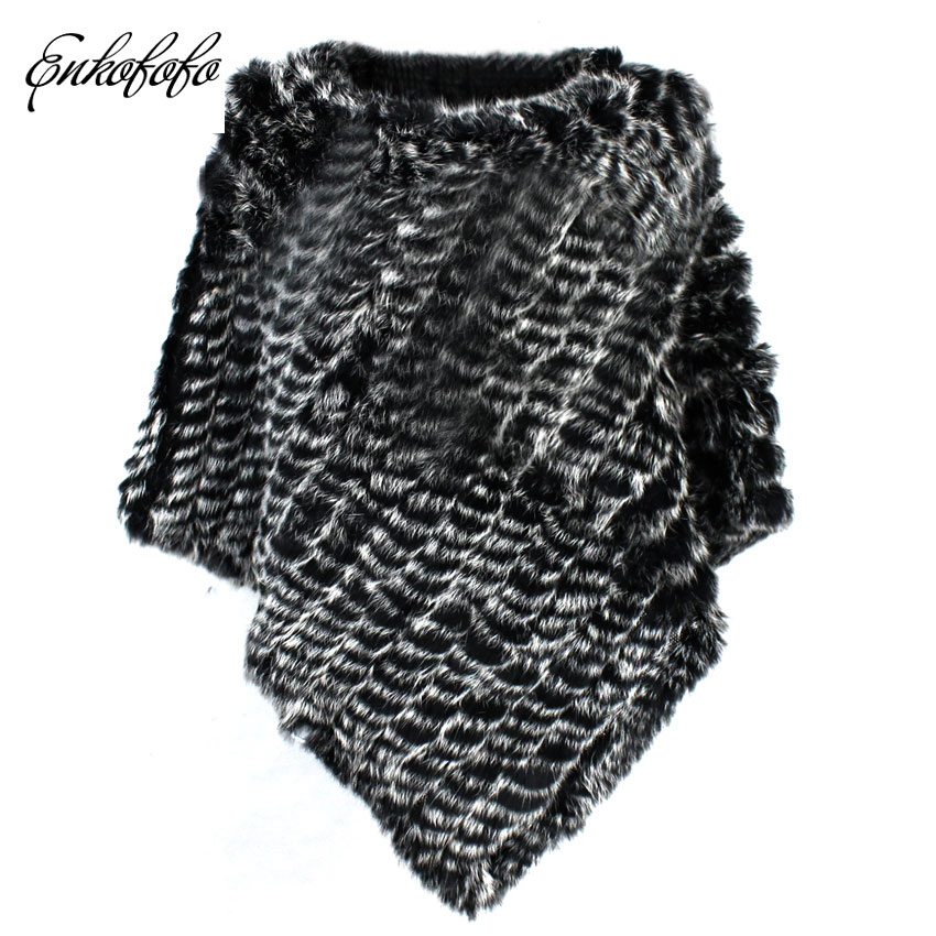 chic Poncho 2018 Fashion Women Knitted Rabbit Real Fur Coat O-neck Sleeveless Vest Small Cape Triangle Fur Shawl Loose Coats