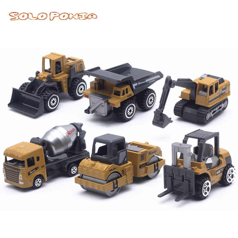 6 pcs Set Baby Toys Mini Construction Vehicle Cars- Forklift, Bulldozer, Road Roller, Excavator, Dump Truck, Tractor Toys