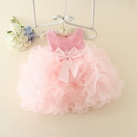 Summer Children S Flower Girls Beading Princess Party Ball Gown Kids Birthday Tutu Dress Bow Sundress