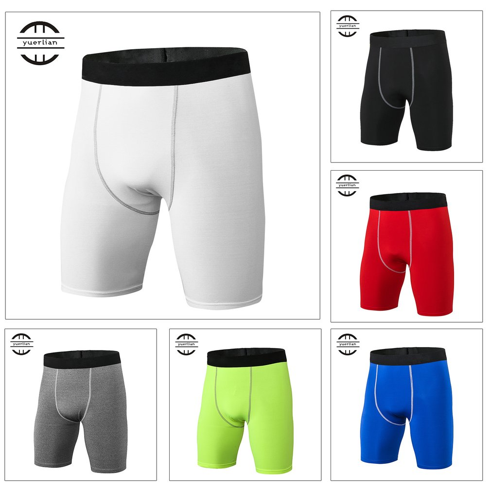 Yuerlian High Elastic Men Tight Compression Shorts Quick Drying Sport Bodybuilding Compression Short Pants