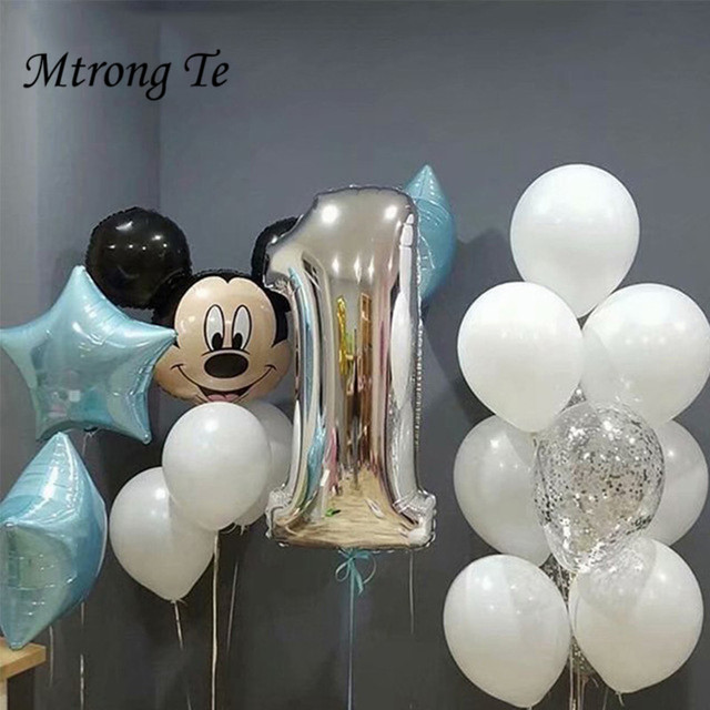 17pcs Mickey Minnie Mouse Birthday Foil Balloons For Boy One Year Old 1st Party Decor