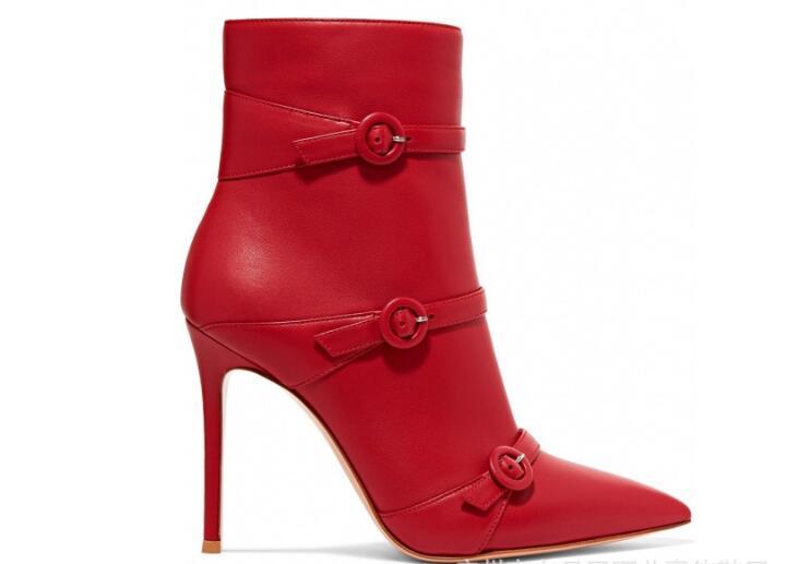 41 Calidad Botas Novia Puntiagudo Dedo 2019 Finos Rojo 34 Del Tobillo Zapatos Superior Genuino Moda Diseño Otoño De Tacones Pie Mujeres Cuero wgqWFp1