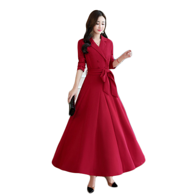 Formal Red Dress Women Elegant Autumn Plus Size Long Casual Women ...
