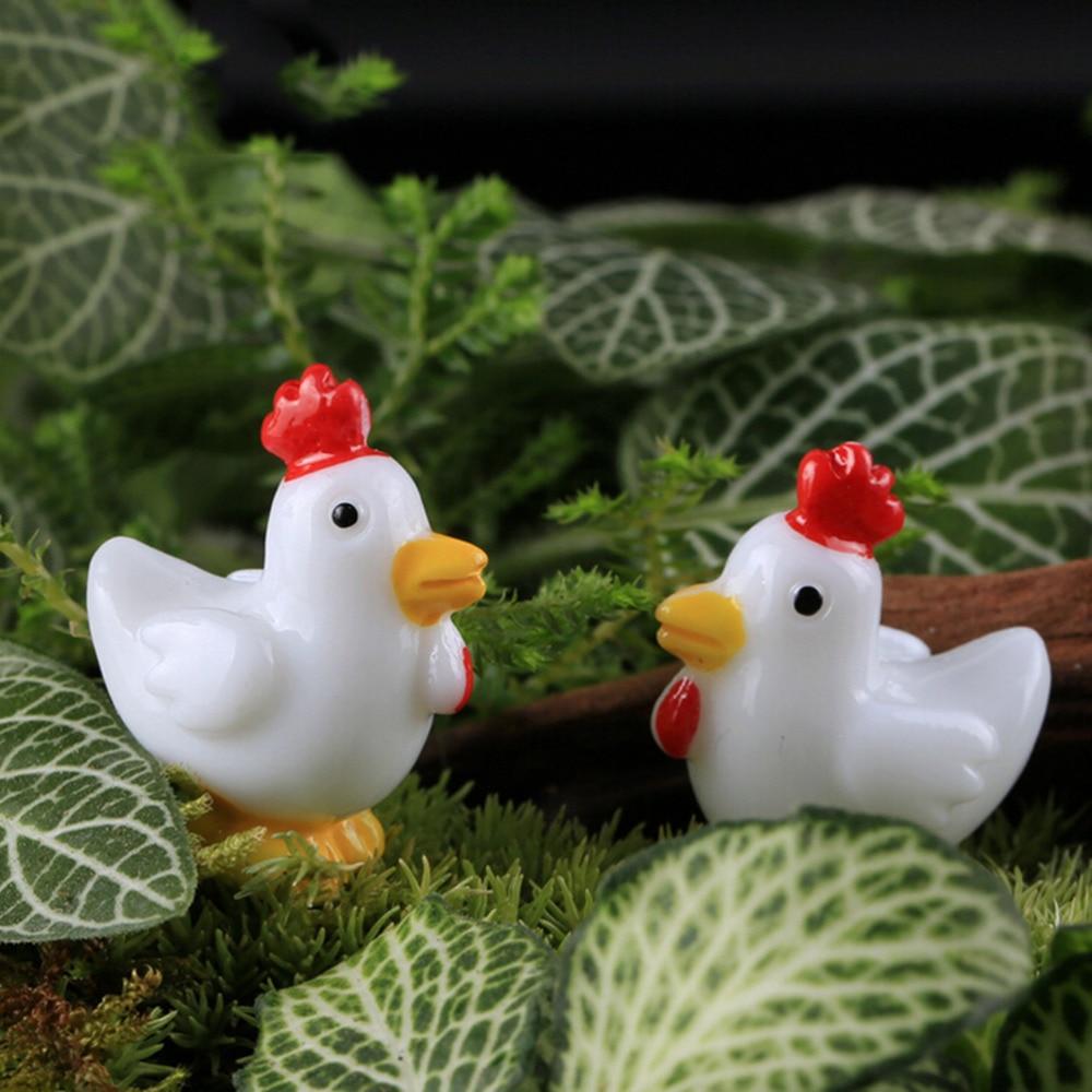 Mini Animals Resin Craft Cock Chicken Combination Bonsai Figurine Fairy Garden Miniatures Ornaments 1Pair Garden Decoration