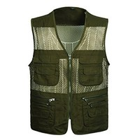 Hot Sale!!!!Jackets Men Summer 2018 Mesh Vest For Spring Autumn Male Thin Breathable Multi Pocket Waistcoat Mens Baggy Green