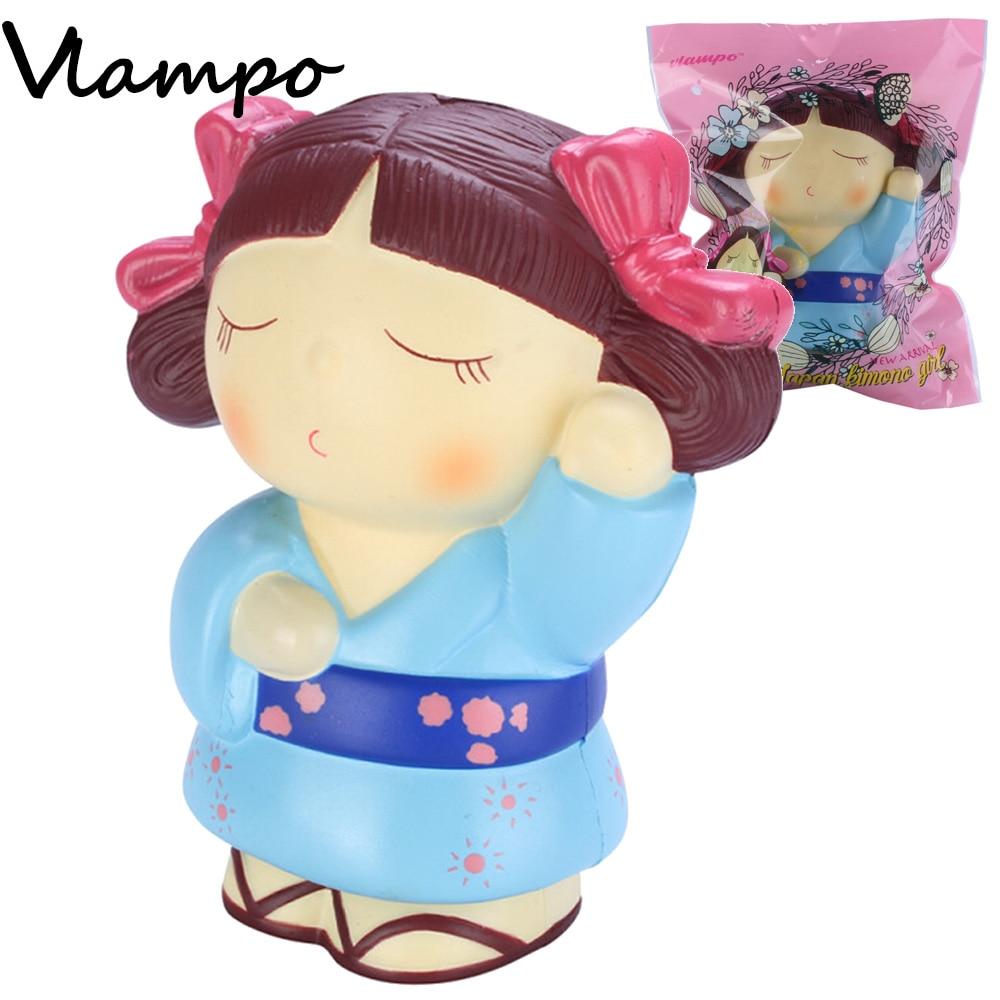 1PC aranyos lassú emelkedő squishy kawaii japán lány kimonó stresszoldó játékok lágy játékszerek gyerekeknek 14cm ritkaságos kiskereskedelem