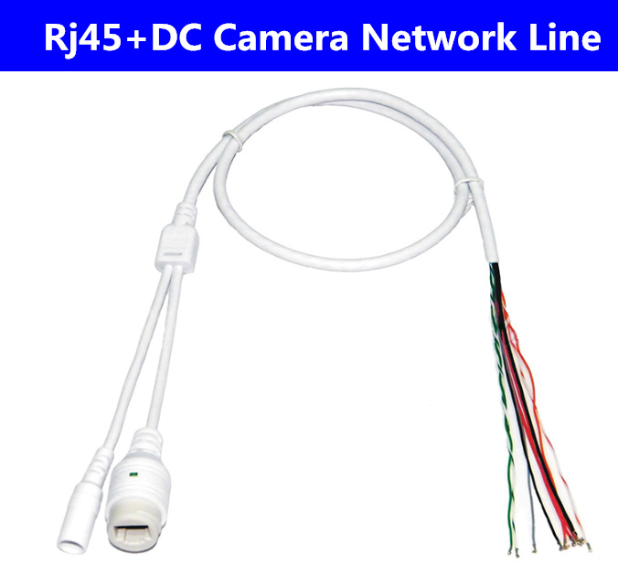 10pcs/lot 9-Pin Rj45+DC Light Monitor Network Camera Line IP Tail Cable With Waterproof Cap Waterproof Surveillance