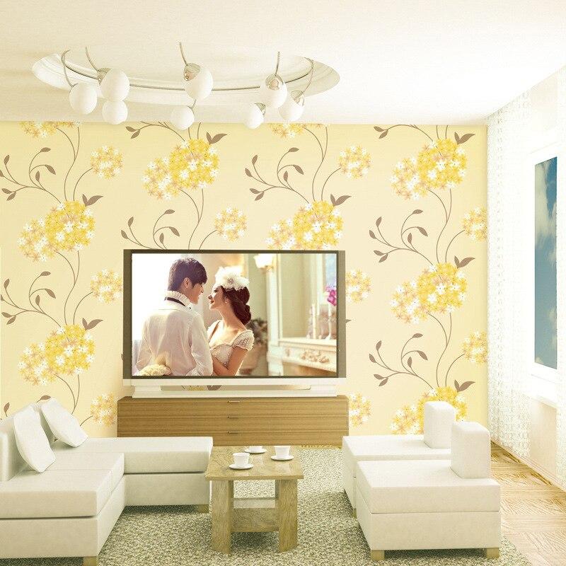Beibehang chaud pastorale taille fleur groupe motif salon chambre TV fond papier peint papel de parede
