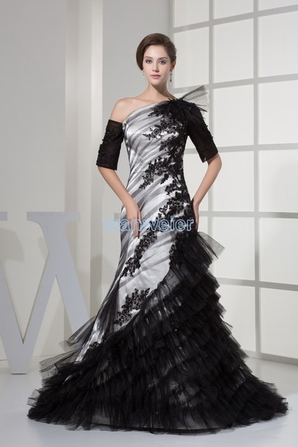 One Shoulder Half Sleeve Custom Size Designer Couture Evening Gowns Small Train Mermaid Liques Mother Of