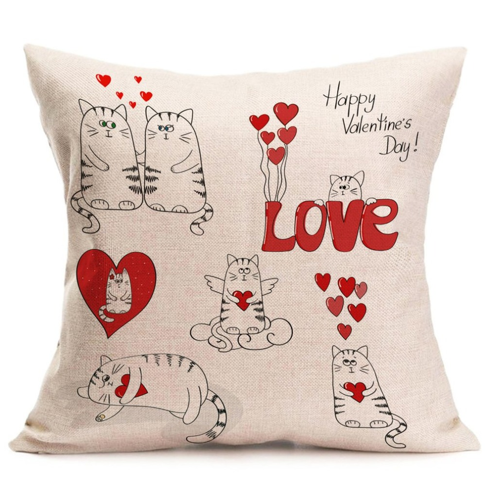 Valentine's Day Printed Design Back Cushion Pillowcase