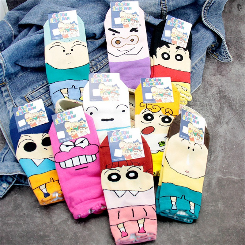 Hot Crayon Shin Chan Nohara Shinnosuke Women Socks Comfortable Cotton Sock Slippers Funny Cartoon Short Women's Socks 9 Pairs