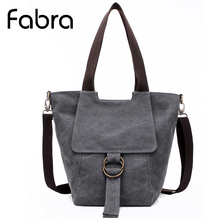 Fabra Neue Casual Leinwand Handtaschen Feste Crossbody Schulter Hobo Tasche Vintage Frauen Messenger Bags 23*21*36 cm