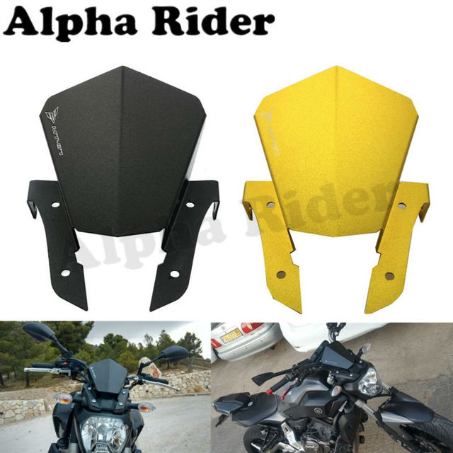 Aluminum Airflow Windshield WindScreen for Yamaha MT07 MT-07 FZ07 FZ-07 2013 2014 2015 Front Wind Screen Protector Deflector