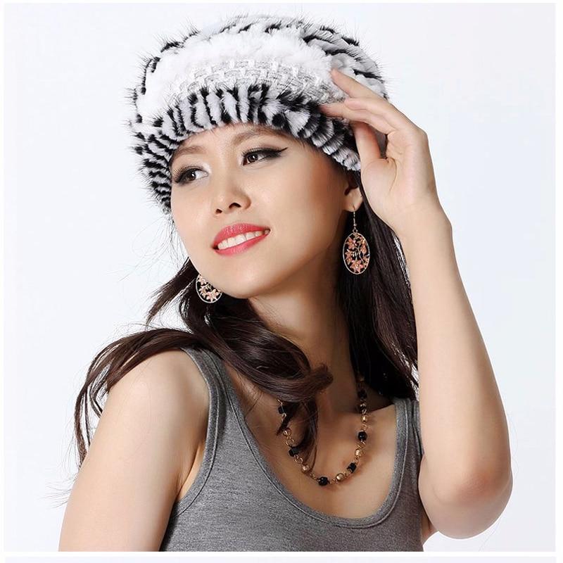 Svadilfari Wholesale Top Fashion New 2017 Female Women Wool Knitted Brick Fur Hat Flat Brim Dome Winter Striped Cap For Girls zlyc women winter wool felt wide brim fedora bowler hat floppy cloche bowknot cap