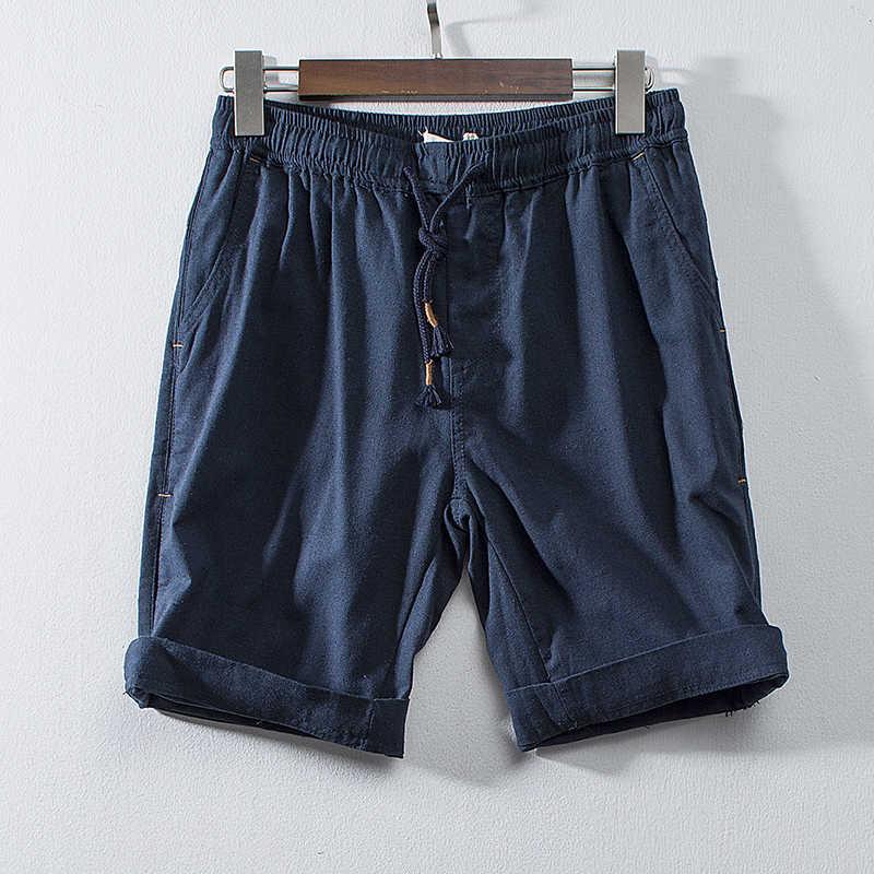 ESTILO CHINÊS linho shorts homens calças de verão casuais suor algodão homem Cáqui corredor curto masculino de fitness tamanho grande streetswear sweatshorts