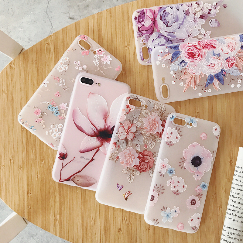 <font><b>3D</b></font> Relief Painted Phone <font><b>Case</b></font> For <font><b>iphone</b></font> 7 <font><b>Case</b></font> Emboss Flower <font><b>Silicone</b></font> Back Cover For <font><b>iphone</b></font> <font><b>X</b></font> 10 7 8 Plus 6 6s XS Max XR Cover image