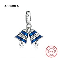 Sterling Silver 925 Christmas Bells Pendant Beads With Blue Enamel And Zircon DIY Charm Gift Bead