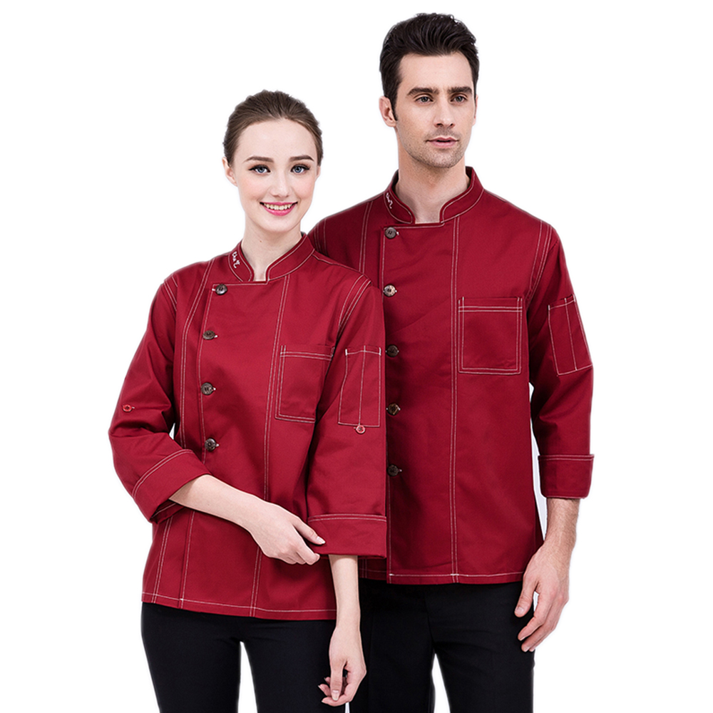 New High Quality Chef's Jacket Restaurant Accessories Hotel Uniform Kitchen Men Long-Sleeved Work Clothes Cooking Coat Overalls