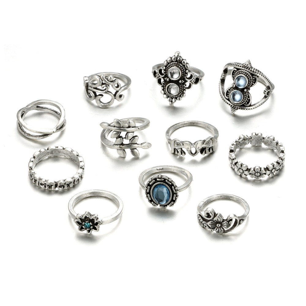 HuaTang Bohemian Antique Silver Ring Geometric Elephant Flower Green Rhinestone Knuckle Rings Midi Finger Anel Rings Jewelry 84