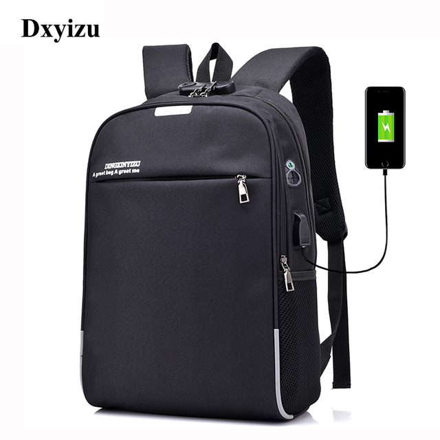 Password Lock Design Men Women Laptop Backpack External USB Charge  Anti-theft Notebook Computer travel 106023fe62bff