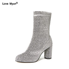 1174b9be66b5 Autumn Winter Women Boots Sequined Cloth Mid-Calf Silver Black Stretch  Fabric Socks Square Heel Zip Ladies Shoes Plus 785