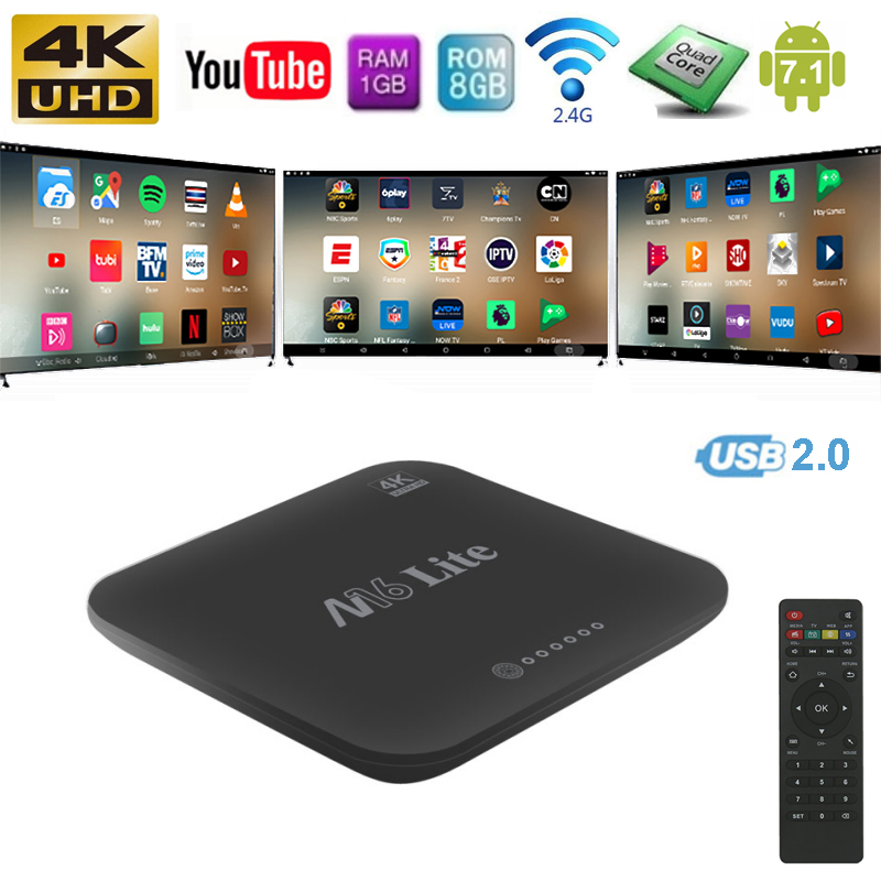 Android 7.1 Wireless Wifi TV Box Quad Core 32bits Cortex 1G/2G RAM 8G/16G ROM 2.4GHz Wifi TV Dongle Media Player Set Top Box